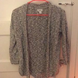 Light gray speckled open cardigan